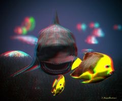 Anaglyph shark and fishes by passionofagoddess
