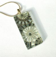 Black grey white glass pendant by inchworm