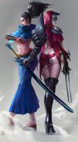 ZED and Yasuo FanArt(Female mode by OrekiGenya