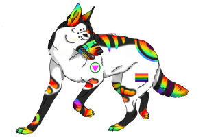 Safe Zone Symbol and Pride flag - PRIDE Dog Litter by CalicoWoolfe