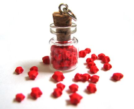 Miniature Origami Stars in Glass Bottle by PetiteOrigami
