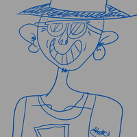 Blue Dude with shades and a hat by mariekelikestodrawn