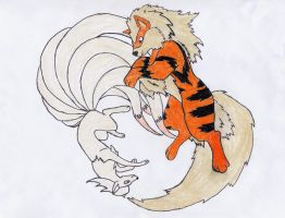 Arcanine and Ninetails by Mizu-Ookami-chan