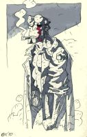 One-eyed Hellboy sketch by OXOTHUK