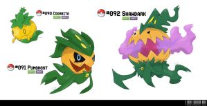 090, 091 ,092: Pumpkin Fakemon by LeafyHeart