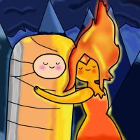 PAINTING TIME: FINN X FLAME PRINCESS by Cokedark11