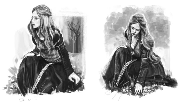 Sitting Princess studies by Anday