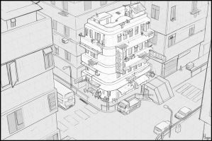 Hong-kong-street - perspective drawing exercise by ArtOfMonkfish