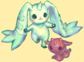 Terriermon and Chocomon by Mootdam