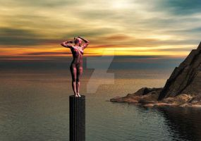 Statue watching the Island by GoddyDesigns