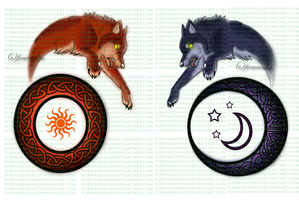 Skoll + Hati tatoo commission by Forwardess