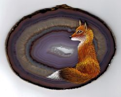 Red Fox on Agate by Nevuela