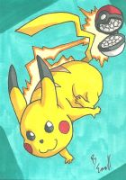 Pikachu Sketch Card by ibroussardart