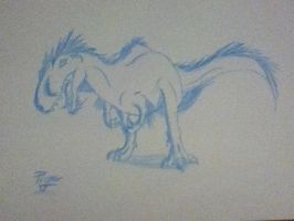 Winter Allosaurus dump sketch 5 by Koala-Sam