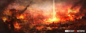 Burning city concept by sancient
