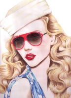 Red Sunglasses and Lipstick by nitrozino
