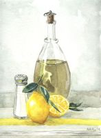Olive Oil and Lemons by KelliRoos