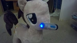 Dr. Whoof Plushie with lightup sonic screwdriver by Evilwarlordgu