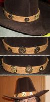 Steampunk Stetson - Copper and Silver Gear Hatband by Windthin