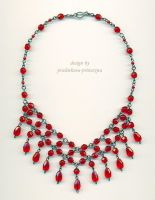 Red waterfall necklace by pralinkova-princezna