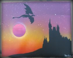 Spray Paint Art: Dragon and The Castle by hectorr94