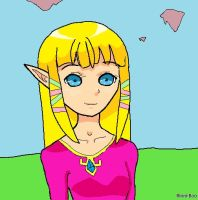 Zelda Lineart Colored by Rinni-Boo