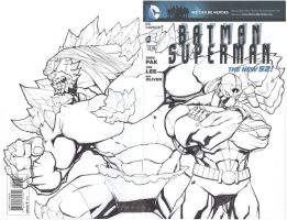 Doomsday And Bane Blank Cover by mikebowden