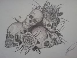 skulls and roses by cleefard