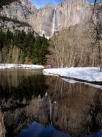 Reflection on Yosemite Falls by kayaksailor