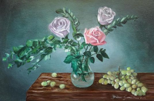 Still Life with roses in a vase by Niruh