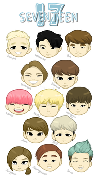 Seventeen Chibi Heads by chaixing
