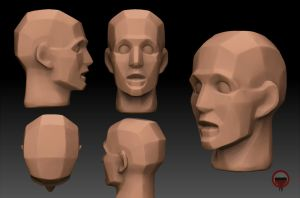 Freeshare 3D Head planes Houdon obj model by io-mizareh