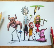 Creepyfied Rick and Morty Drawing by AtomiccircuS