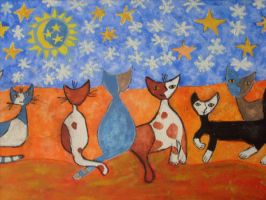 winternight cats by ingeline-art