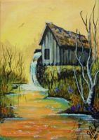 ACEO The Old Mill Stream by annieoakley64
