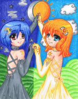 .:.Sun and Moon Twins.:. by Ookami-SeaEmpress