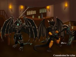 COM : Rylae and Darklurker trading weapon by whiteguardian