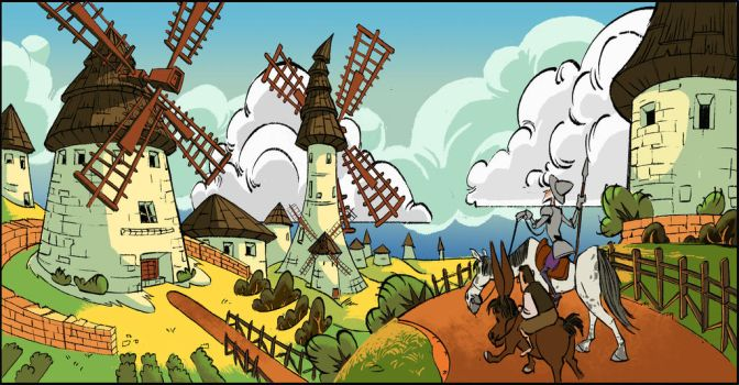 Don Quijote  and the windmills by cLoVeRsKuLL