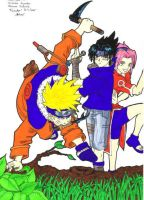 Team Seven - Naruto - coloured by redletalis