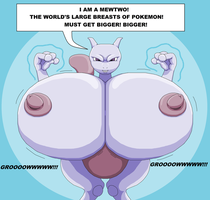 Mewtwo's large breasts by theHyenasSBE
