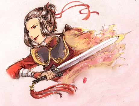 doodle Azula_Fire and Sword by kelly1412