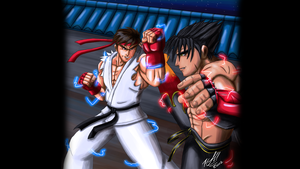 Ryu vs Jin wallpaper by Odin787