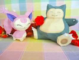 Skitty and Snorlax by studioofmm
