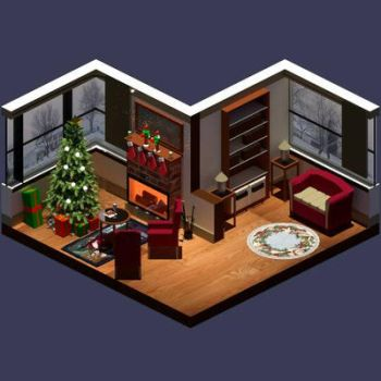 Low Poly Christmas themed room by dark3dartist