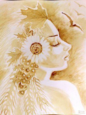 Demeter's portrait painted with coffee