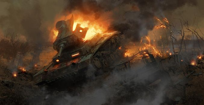 The burning tank by Andrei-Pervukhin