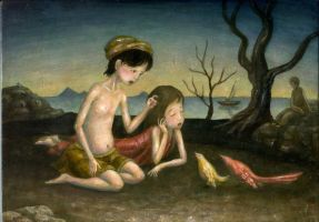 Little birds are consulting by perodog