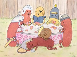 Hot Dog Knights Playing Poker by crokittycats