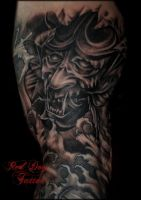 Garys Mask Detail by Reddogtattoo