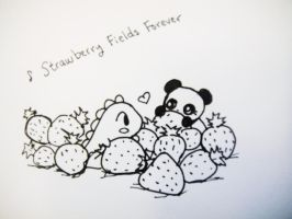 Dino and Panda Strawberry Fields by MelodicInterval